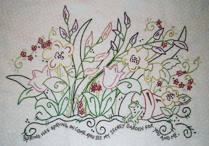 Hand embroidery patterns to use to make your own table for Garden embroidery designs free