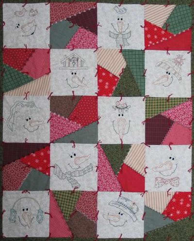 This Is The Perfect Throw For A Cold Winter Evening You Will Have Fun  Embroidering These Sweet Faces And Piecing Easy Crazy Patch Blocks