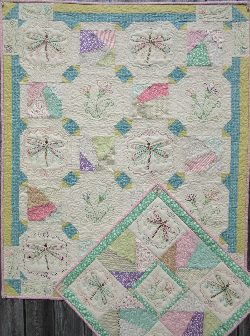 Winter Red Hand Embroidery Quilt, Dragonfly Crazy Hand Embroidery From  Turnberry Lane Patterns